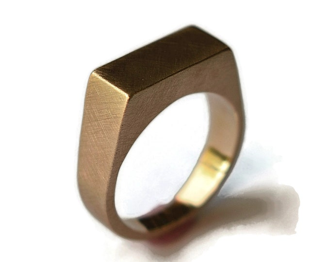 Mens Signet Golden Bronze Ring Mens Golden Bronze Personalized Ring Custom Signet Golden Ring Golden Signet Golden Matte Ring