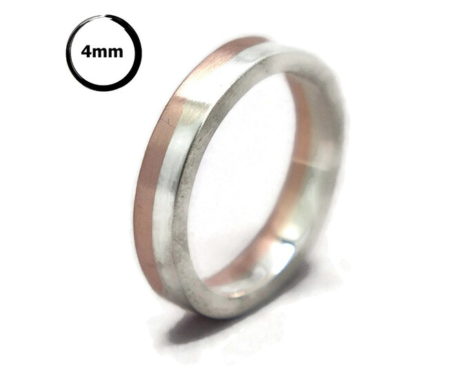Mens Silver and Copper Midi Band Ring. Matte Silver and Copper Wedding Band Ring. Classic Silver and Copper Wedding Ring 4mm