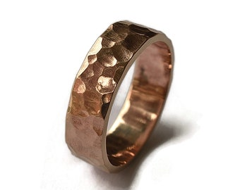 Hammered Red Bronze Wedding Ring, Men's Hammered Bronze Wedding Band, Rustic Bronze Ring, Custom Engraving Ring, Polished Ring 6mm