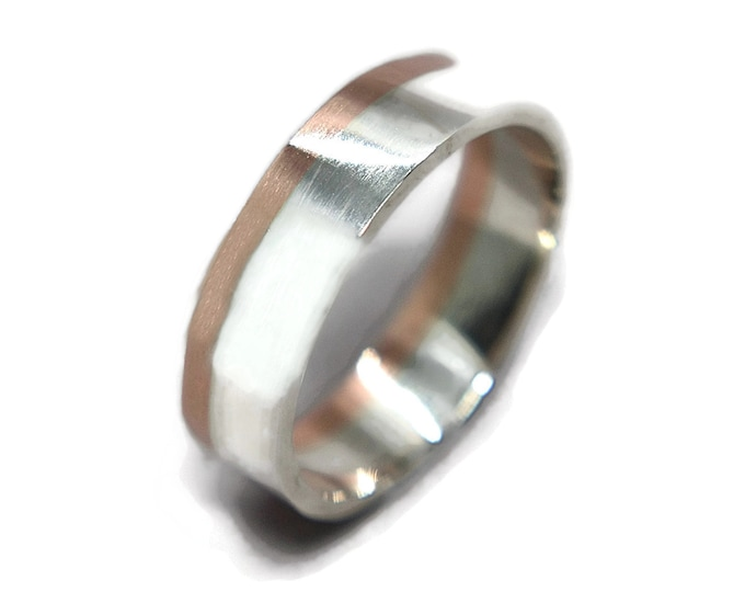 Mens Silver and Copper Wedding Band Ring. Polished Silver and Copper Wedding Band Ring. Modern Silver and Copper Wedding Ring 6mm