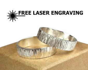 Sterling Silver Tree Bark Textured Wedding Band Ring. Rustic Silver Wedding Band Ring Set. Silver Hammered Wood Grain Textured Ring Set 6mm