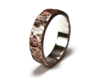 Mens Antique Hammered Copper Wedding Band. Hammered Copper Antique Wedding Ring for Men. Oxidized Ring 6mm