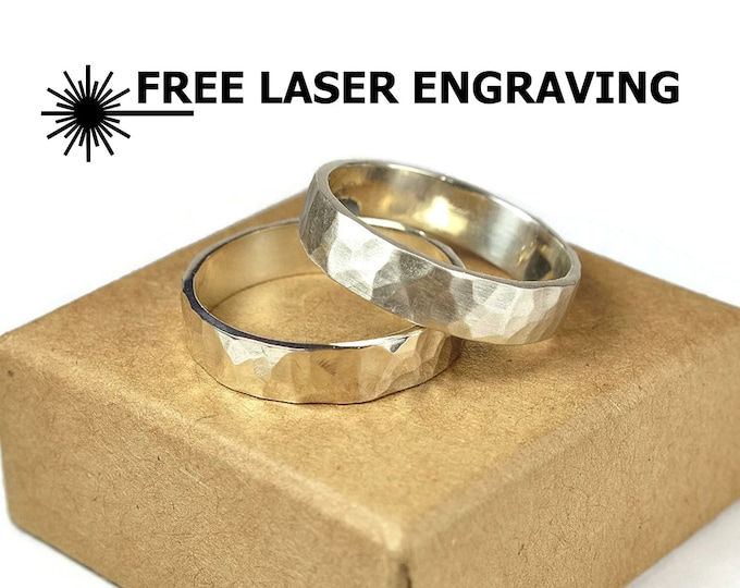 Hammered Sterling Silver Wedding Band Ring Set Rustic Silver Wedding Band Ring Set 6mm Free Engraving Custom Engraving Anniversary Gift