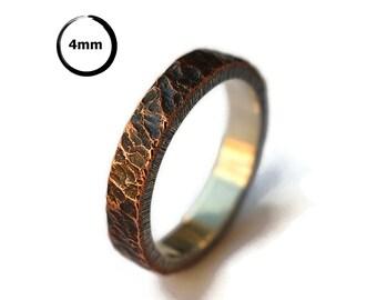 Mens Antique Rustic Wedding Ring. Antique Meteorite Copper Wedding Ring. Custom Meteorite Ring. Antique Oxidized Meteorite Ring 4mm