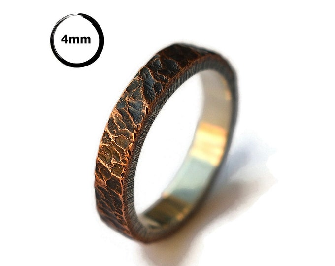Mens Antique Rustic Wedding Ring. Antique Meteorite Copper Wedding Ring. Custom Meteorite Ring. Antique Oxidized Meteorite Ring 4mm