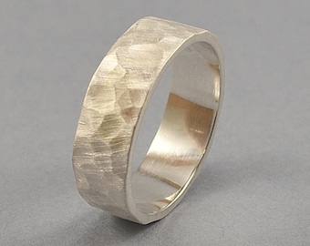 Men's Rustic Wedding Band, Timeless Silver Wedding Band, Hammered Texture Band Ring, Handmade Silver Ring, Matte Finish
