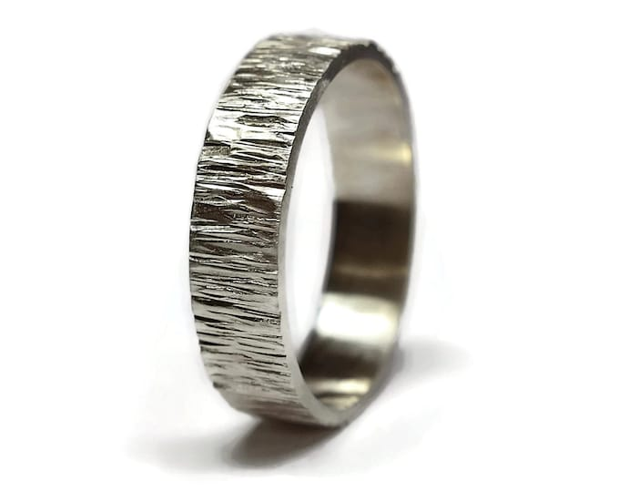 Sterling Silver Tree Bark Ring. Rustic Tree Bark Ring. Wood Grain Ring. Mens Rustic Tree Bark Wedding Band. Nature Ring. Matte Ring 6mm