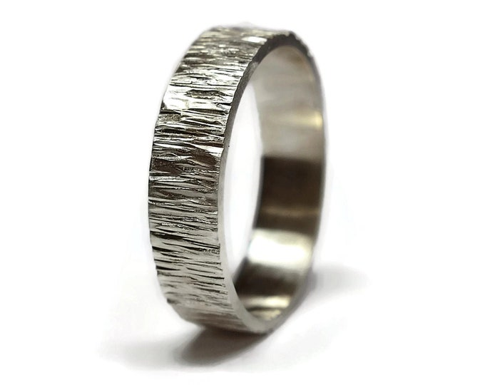 Silver Tree Bark Band Ring, Rustic Tree Bark Band Ring, Wood Grain Band Ring, Mens Rustic Tree Bark Band Ring, Nature Ring, Matte Ring 6mm
