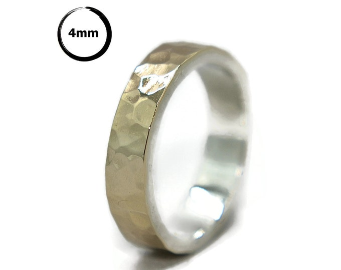 Rustic Hammered Gold and Silver Wedding Band Ring Urban.