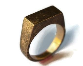 Antique Golden Bronze Signet Ring. Men's Bronze Signet Ring. Men's Antique Bronze Ring. Antique Golden Bronze Signet Ring for Men