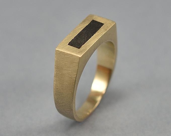 Brass Signet Ring. Ebony Signet Ring. Brass and Wood Signet Ring. Matte finish