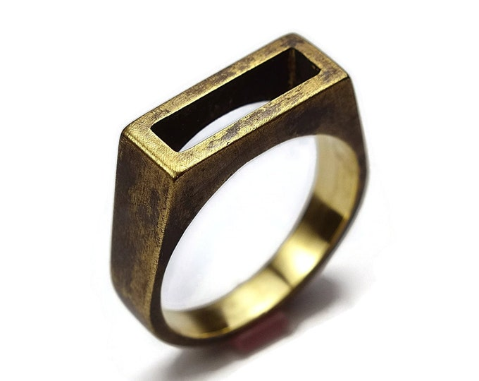 Mens Antique Brass Signet Ring. Unisex Antique Brass Ring. Antique Style. Wide 8mm