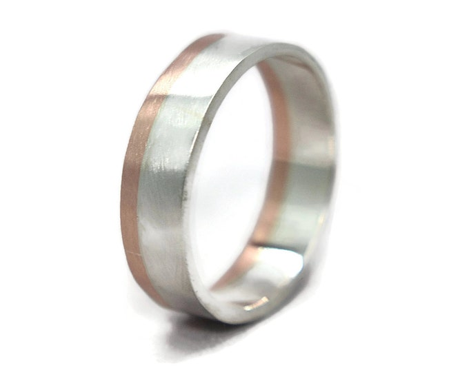 Mens Silver and Copper Wedding Band Ring. Matte Silver and Copper Wedding Band Ring. Classic Silver and Copper Wedding Band Ring 6mm