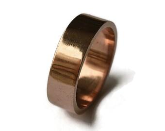 Simple Bronze Wedding Band, Men's Red Bronze Wedding Band Ring, Free Engraving Bronze Ring, Polished Ring 6mm
