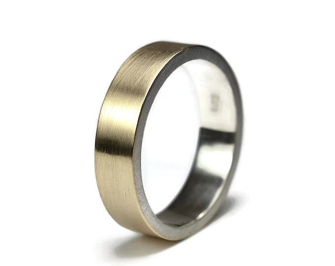 Men's Gold & Sterling Silver Flat Wedding Ring. Simple 6mm Gold and Silver Wedding Band Finished Matte