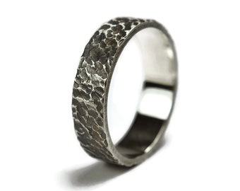 Antique Meteorite Silver Wedding Ring. Mens Antique Moon Wedding Ring. Free Engraving. Antique Oxidized Meteorite Ring 6mm