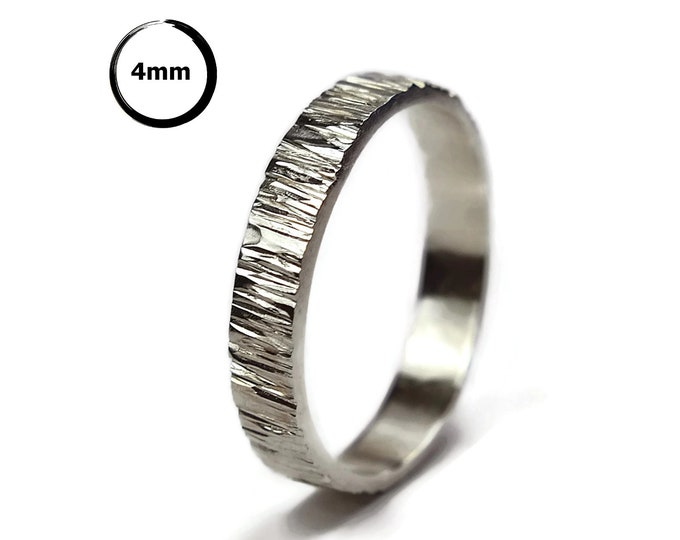 Tree Bark Wedding Band Silver Ring Rustic Silver Tree Bark Promise Nature Ring Tree Bark Wedding Band Wood Grain Ring 4mm Polished