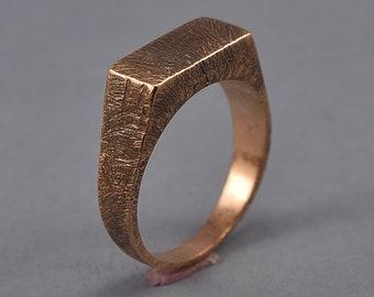 Raw Brushed Antique Signet Ring. Men's  Bronze Antique Signet Ring. Custom Bronze Ring
