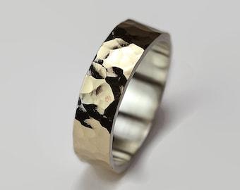 Hammered Matte Gold Wedding Band Ring.