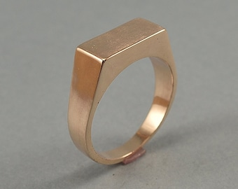 Rectangle Bronze Signet Ring. Men's Geometric Signet Ring Made of Bronze. Custom Bronze Signet Ring for Men. Polished Finish