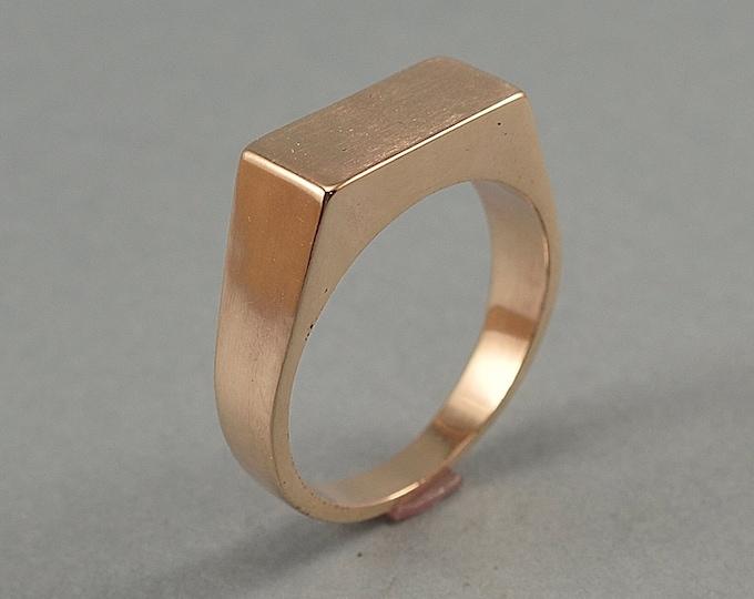 Rectangle Bronze Signet Ring. Men's Geometric Signet Ring in Bronze. Custom Bronze Signet Ring for Men. Polished Finish