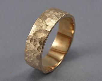 Men's Hammered Bronze Band Ring, Rustic Hammered Golden Bronze Wedding Band, Custom Engraving, Hammered Texture Matte Ring 6mm