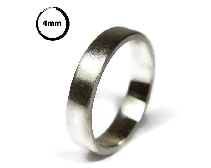 Modern Silver Wedding Band Ring. Minimalist Silver Wedding Ring. Thumb Ring. Personalized Silver Ring. Custom Ring Silver. Matte Ring 4mm