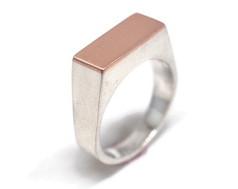 Silver Signet Ring Custom Engraving Ring Copper Signet Man Personalized Ring Signet Matte Signet Ring Free Inside Outside Engraved