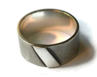 Mens Vintage Silver Ring. Wide Ring Men Silver. Initials Rings Silver. Custom Free Engraving Silver Ring. Sandblasted Finish Ring 10mm