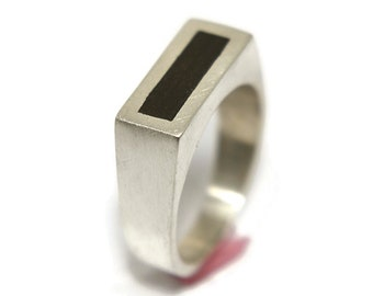 Modern Mens Sterling Silver and Ebony Ring. Sterling Silver and Ebony Ring for Men. Minimalist Mens Ebony and Sterling Silver Ring