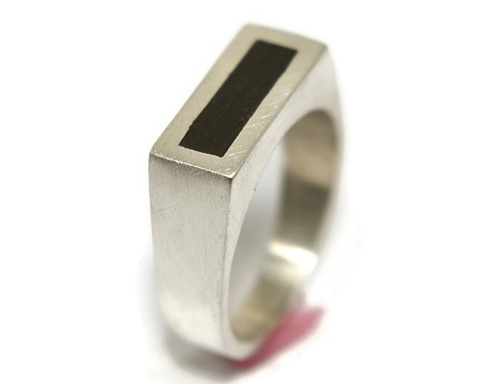 Modern Men's Sterling Silver and Ebony Ring. Sterling Silver and Ebony Ring for Men. Minimalist Men's Ebony and Sterling Silver Ring