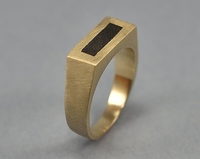 Brass Signet Ring with Ebony Inlay for Men. Matte finish