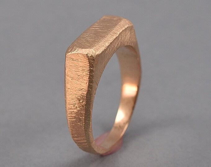 Men's Raw Brushed Signet Ring. Custom Red Bronze Signet Ring. Ancient Signet Ring. Matte Finish