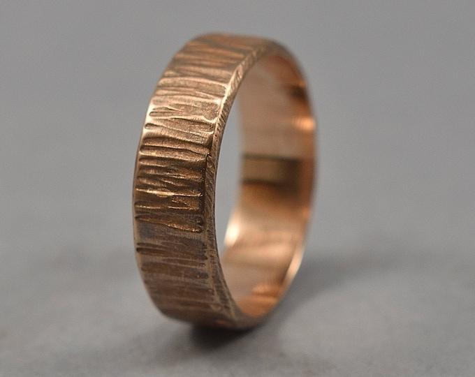 Men's Custom Antique Red Bronze Wedding Band. Men's Antique Tree Bark Wedding Ring. Antique Nature Wedding Band