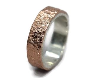 Men's Meteorite Copper & Silver Wedding Band. Men's Rustic Copper Wedding Ring. Custom Meteorite Ring. Engraving Ring. Polished Ring 6mm