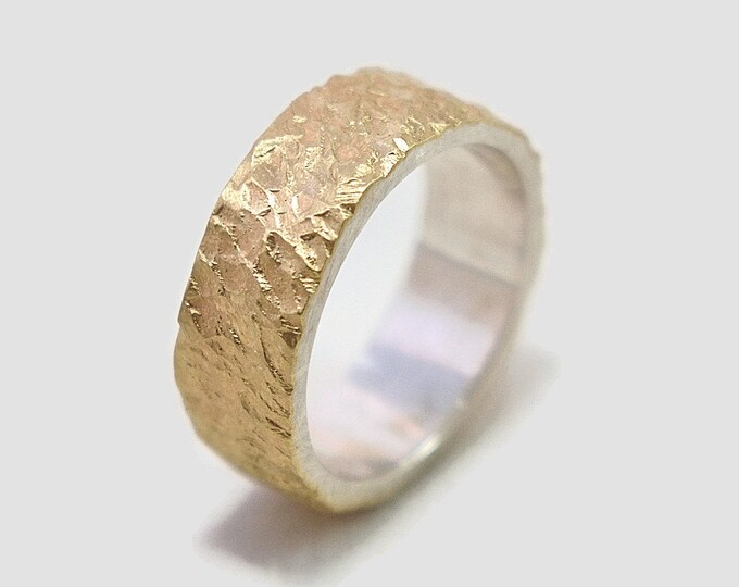 Mens Wedding Band Meteorite Gold and Sterling Silver Mens Rustic Gold Wedding Band Meteorite Wedding Ring Meteorite Gold and Silver Matte