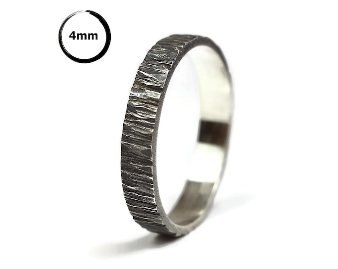 Antique Rustic Silver Wedding Band Ring. Antique Nature Tree Bark Wedding Ring. Custom Nature Silver Ring. Free Engraving. Oxidized Ring 4mm