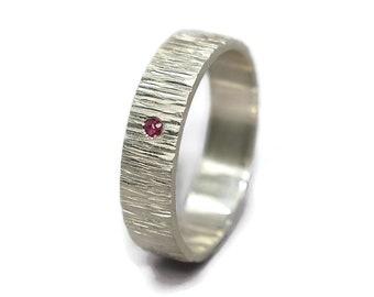 Mens Engagement Ring Ruby. Mens Rustic Ruby Wedding Band Ring. Tree Bark Ruby Wedding Band Ring. Nature Matte Silver Wedding Band Ring Ruby