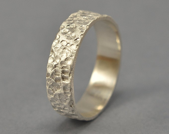 Hammered Lava Textured Ring. Rustic Silver Ring for Men. Custom Silver Ring. Matte Finish