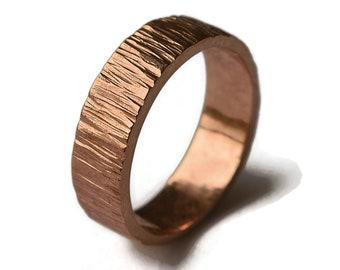 Bronze Tree Bark Ring, Rustic Tree Bark Ring, Wood Grain Ring, Men's Rustic Tree Bark Wedding Band, Nature Ring. Polished Ring 6mm