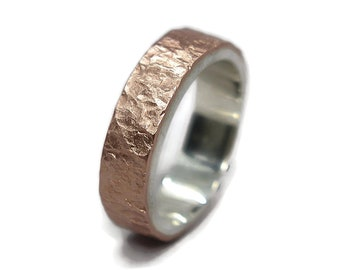 Mens Meteorite Copper Wedding Ring. Mens Rustic Copper&Silver Wedding Band Ring. Custom Meteorite Ring. Free Engraving. Matte Ring 6mm