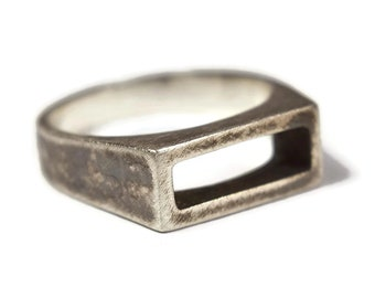 Mens Antique Sterling Silver Stirrup Ring. Mens Antique Rectangle Silver Stirrup Ring. Geometric Antique Silver Stirrup Ring for Men