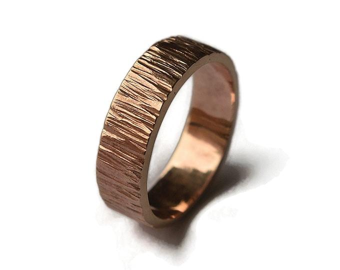 Mens Rustic Tree Bark Wedding Band, Bronze Tree Bark Ring, Rustic Tree Bark Ring, Wood Grain Ring, Nature Ring, Matte Ring 6mm