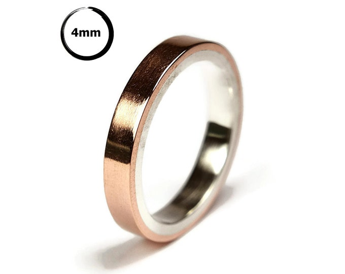Modern Copper&Silver Wedding Band Ring Flat Shape Unisex Copper Wedding Band Ring. Polished Ring 4mm