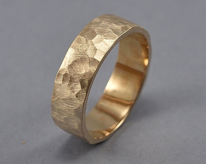 Men's Hammered Brass Band Ring, Rustic Hammered Golden Brass Wedding Band, Custom Engraving, Hammered Texture Matte Ring 6mm
