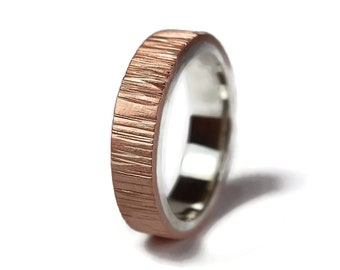 Men's Rustic Tree Bark Copper and silver Wedding Band Ring. Nature Wood Grain Copper Ring. Matte Ring 6mm