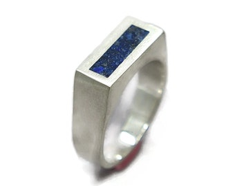 Unique Lapis Lazuli and Silver Ring Men, Mens Blue Lapis Lazuli and Sterling Silver Promise Ring, Lapis Lazuli Inlay Ring Matte finish