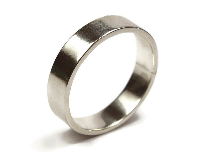 Mens Silver Flat Wedding Band. Modern Silver Wedding Band Ring. Custom Silver Thumb Ring, Gift for Him. Polished Ring 6mm