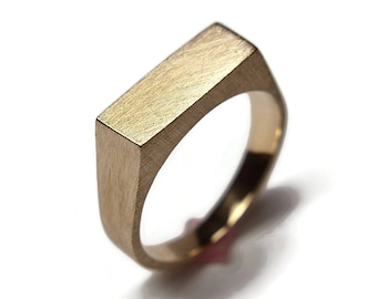 Mens Custom Matte Brass Signet Ring. Mens Signet Ring Men Matte Brass. Signet Rings Men Matte Brass. Signet Ring Men Brass Custom Engraved