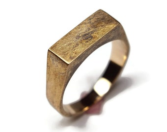 Mens Custom Antique Brass Signet Ring. Mens Signet Ring Men Antique Brass. Signet Ring for Men Antique Brass. Signet Rings Men Antique Brass